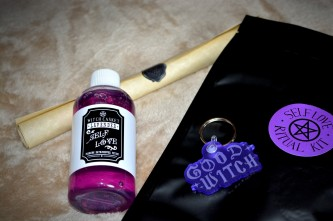 Self-love bath/shower potion, good witch keyring, self-love ritual kit, parchment scroll