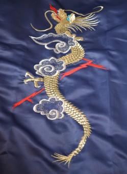 Full length of Dragon on back of dressing gown